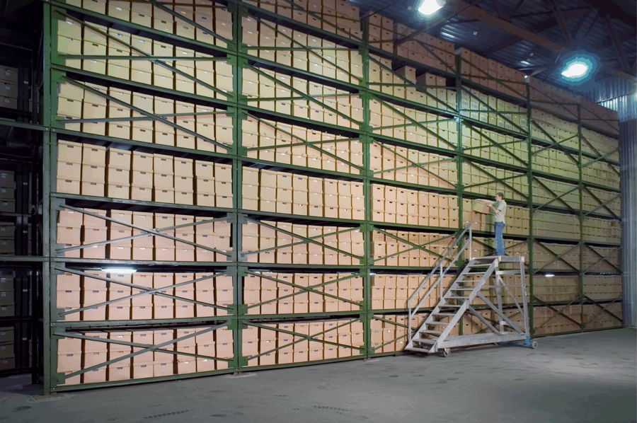 Paper documents stored in a document archive, catalogued with contents searchable with in a records management system. Secure Archiving Service.