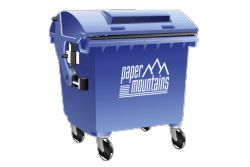 Four wheel bin for collecting confidential waste paper, files and office documents for secure shredding and recycling.